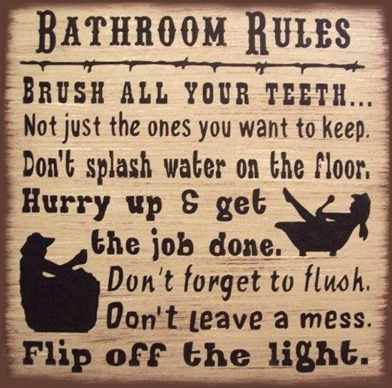 Western Bath Rules Rustic Primitive Country Canvas Sign Home Decor