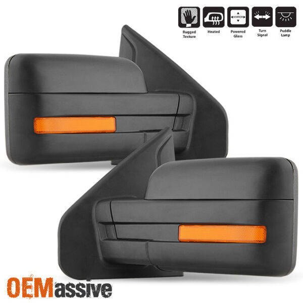 Fit 2007 2014 Ford F 150 Power Heated Puddle LED Signal Side Mirror LR $94.99