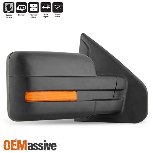 Fits 2007-2014 Ford F-150 Power Heated Puddle LED Signal Passenger Side Mirror