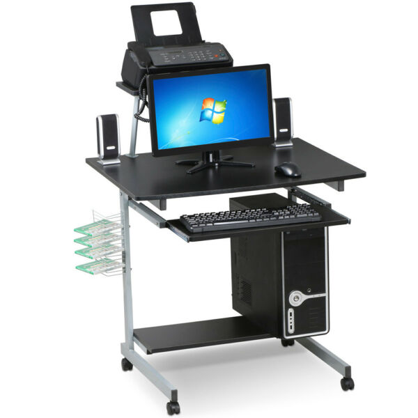 Mobile Rolling Computer Desk Small Space Saver Desk Laptop PC Printer Table Home