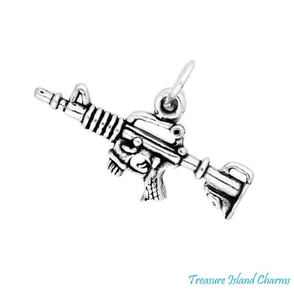 Military Army Automatic Machine Gun 3D .925 Solid Sterling Silver Charm Pendant