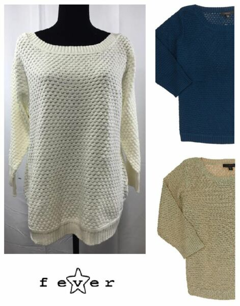 NEW Fever Women#x27;s Popcorn Knit 3 4 Sleeve Sweater VARIETY