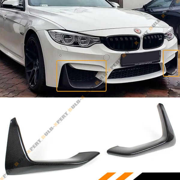 2 PIECES ADD-ON CARBON FIBER FRONT BUMPER SPLITTERS LIP FOR 2015-2018 BMW F80 M3