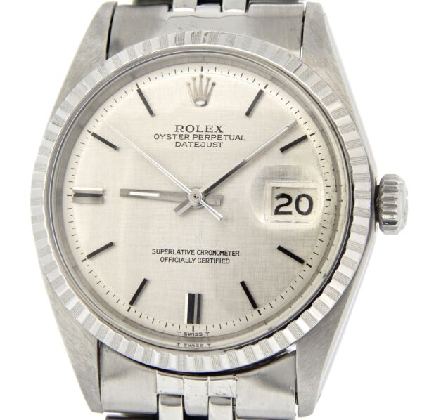 Rolex Datejust Mens Stainless Steel Watch w Silver Linen Dial Jubilee Band 1603
