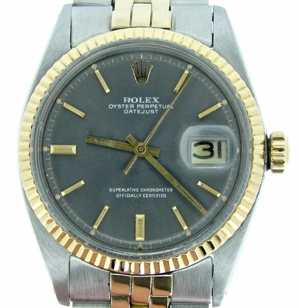 Rolex Datejust Mens 2Tone 14K Gold Stainless Steel Watch Jubilee Slate Dial 1601