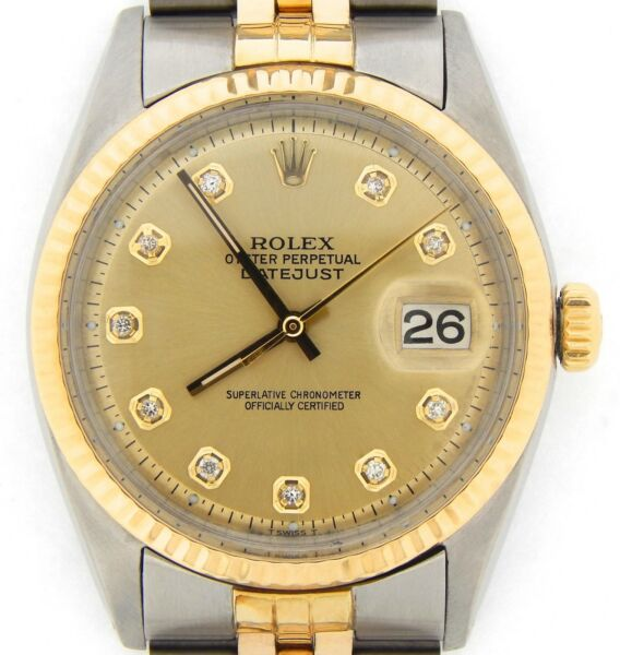 Rolex Datejust Men Two-Tone Gold Stainless Steel Champagne Diamond Dial 1601