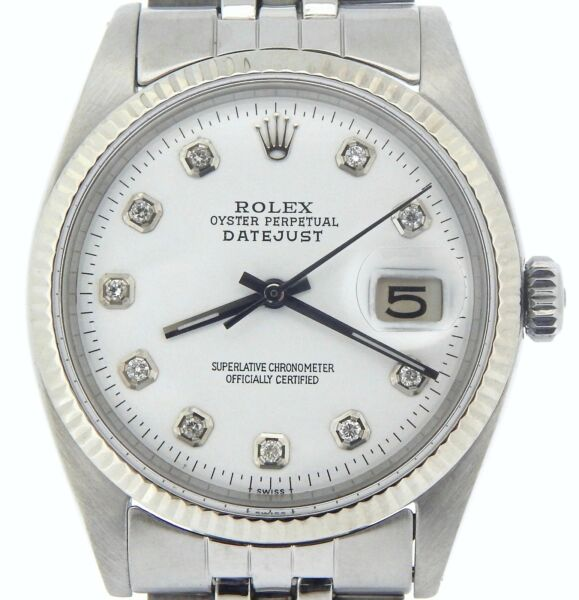 Rolex Datejust Mens Stainless Steel 18K Gold Jubilee w White Diamond Dial 1601