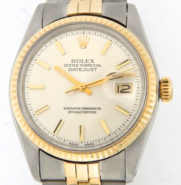 Rolex Datejust Men 2Tone Gold & Stainless Steel Watch Jubilee Silver Dial 1601