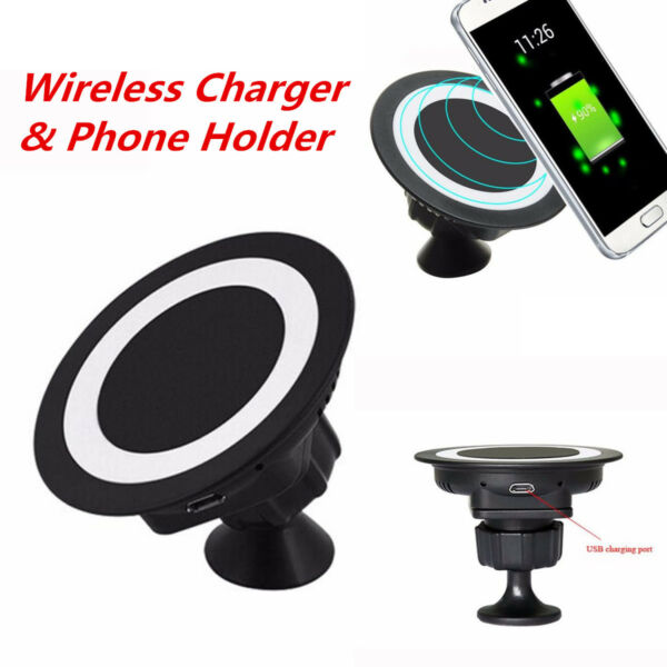 Universal Car Charger Dock Wireless Charging Pad Phone Holder for Samsung Galaxy