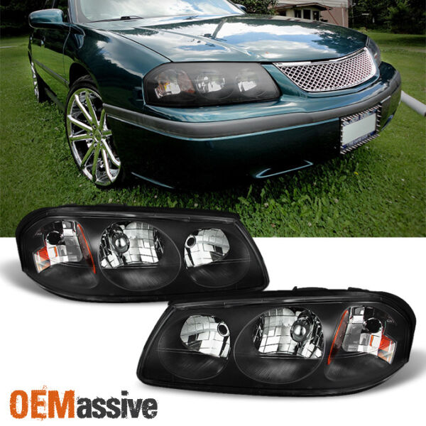 Fit 00-05 Chevy Impala Black Replacement Headlights Headlamps Left+Right