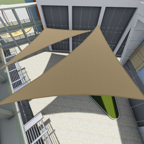 Sun Shade Sail Triangle Permeable Patio Pool Pergola Canopy Brown Beige Blue Red