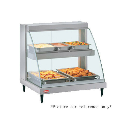 Hatco GRCD-2PD Countertop Heated Display w Curved Glass and 2 Pan Dual Shelves