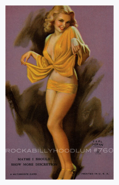 Pin Up Girl Poster 11x17 Mutoscope Card Earl Moran Beautiful Blonde Long Legs