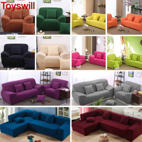 Toyswill 1 2 3 4 Seater LShape Stretch Chair Loveseat Sofa Couch Cover Slipcover $50.99
