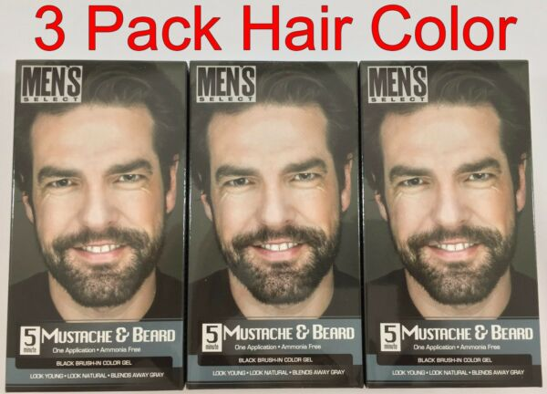 3 pack Men#x27;s Select 5 Minute Mustache and Beard Dye BLACK brush in Color Gel