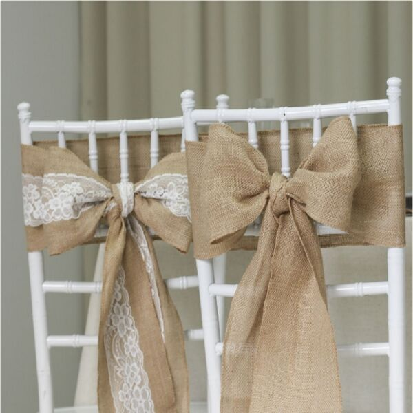 Hessian Chair Sashes Natural Burlap Jute Lace Rustic Vintage Wedding Party Decor