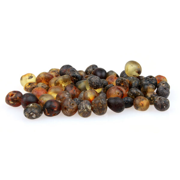 60 Loose Amber Beads Raw Unpolished Green 3 4mm Width Pre Drilled Holes DIY