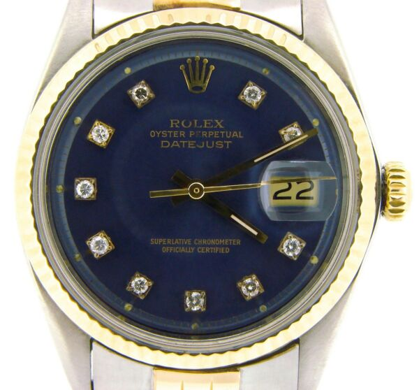 Mens Rolex Datejust Yellow Gold Stainless Steel Watch Blue Diamond Dial 1601