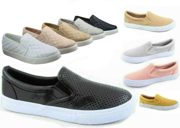 NEW Soda Women's Perforated Slip On Flat  Round Toe Sneaker Shoes Size 5.5 - 11