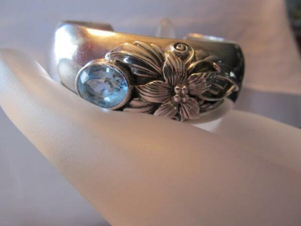 Carol Felley Blue Topaz Flower Cuff Sterling Silver Bracelet Designer Signed