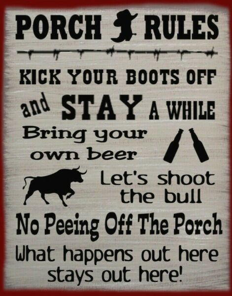 Western Porch Rules Rustic Primitive Country Canvas Sign Home Decor
