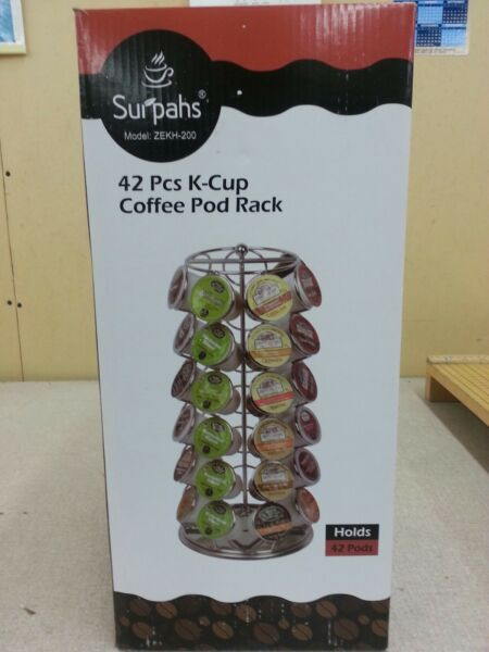 K Cup Coffee Pod Spinning Carousel Rack Holds 42 Pods New Free Shipping