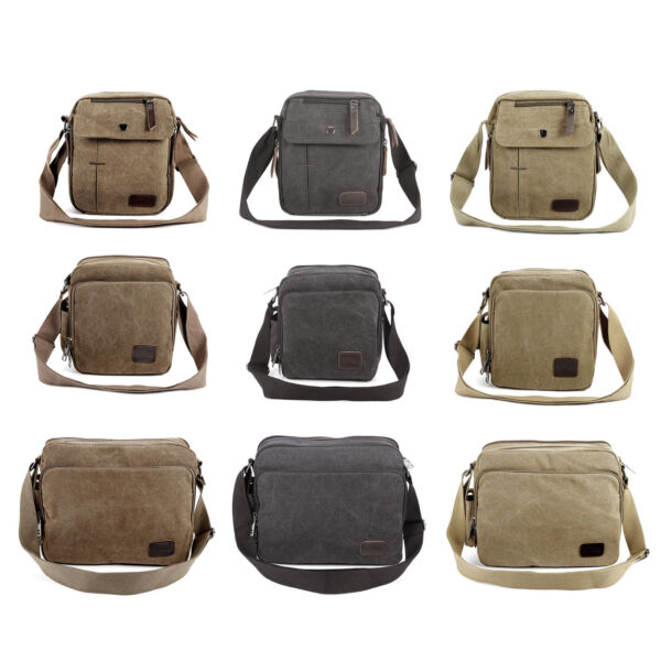 Men#x27;s Canvas Military Messenger Shoulder Travel Bags Hiking Small Bags $22.98