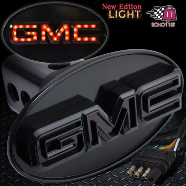 GMC Hitch Cover Licensed LED Light Trailer Towing Hitch Cover Receiver Black6534 $33.35