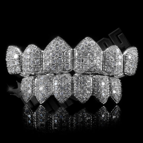 18K White Gold Bling Out Iced Custom GRILLZ Teeth Mouth Caps Top Bottom Grills
