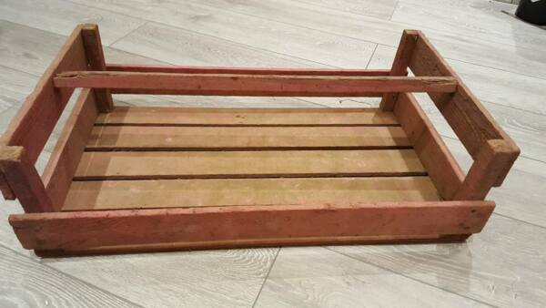2 x FRENCH LARGE WOODEN POTATO PANNIER TRUG VEGETABLE BASKET DISPLAY CASE CRATE
