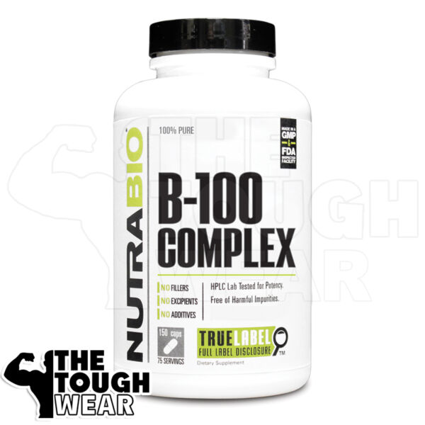 NUTRABIO VITAMIN B 100 COMPLEX 150caps Release Energy from Carbohydrates $14.69