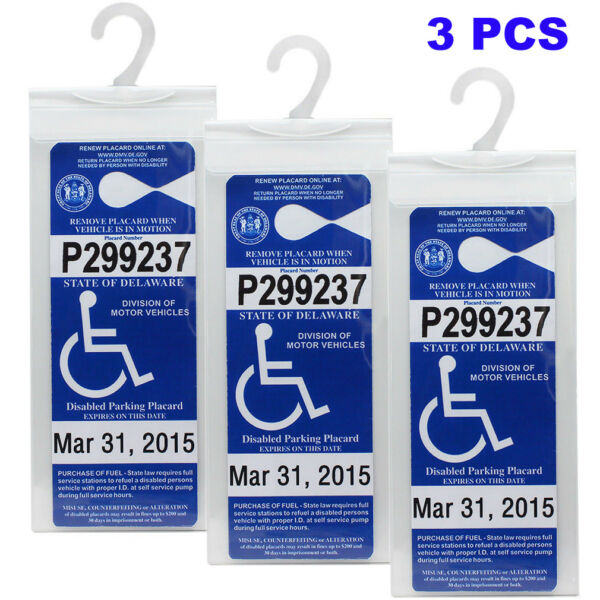 Handicap Placard Holder Car Parking Sign Permit Protector Hanger Cover Sleeve