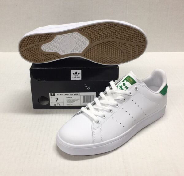 ADIDAS STAN SMITH VULC #B49618 WHITE / WHITE-GREEN *NEW*