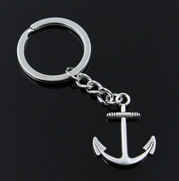 Free Ship 1pcs Silver Plated Metal Anchor Charms Key Ring Keychain Jewelry