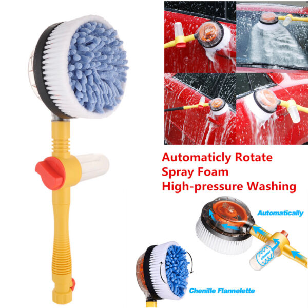 1x Car Washer Automatic Washing Rotate Brush Spray High-pressure Auto Clean Tool