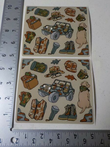FRANCES MEYER CAMO HUNTING DOG JEEP BOOTS VEST HAT STICKERS SCRAPBOOKING A3084 $0.99