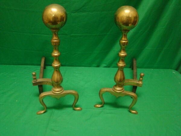 Nice Antique Pair of Traditional BALL TOP Brass Fireplace Andirons.