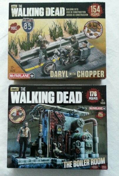 NEW LOT 2 The Walking Dead Daryl & Rick w Chopper & Boiler Room 176 &154 pieces