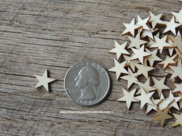 50 qty Very Small 12 inch Star Wood Embellishments Crafts Flag Wooden Decor DIY
