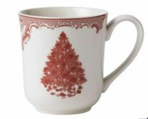 4 Johnson Brothers Old Britain Castles Pink TREE CHRISTMAS COFFEE MUGS NEW