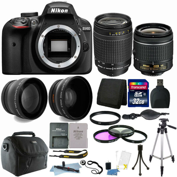 Nikon D3400 24MP DSLR Camera + 18-55mm + 70-300mm Lens + Deluxe Bundle