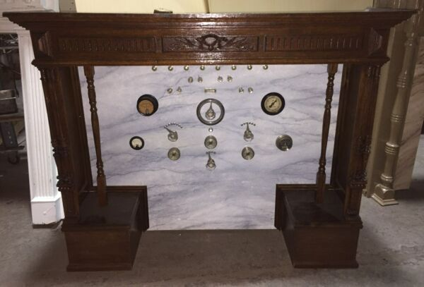 BIZARRE ANTIQUE VINTAGE GAUGES  ELECTRICAL PANEL WOOD MANTEL