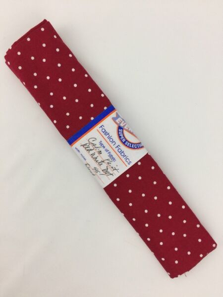 Fabric 5 8 Yd Yard White Dots On Red Material 45quot; Width Calico Print $11.15