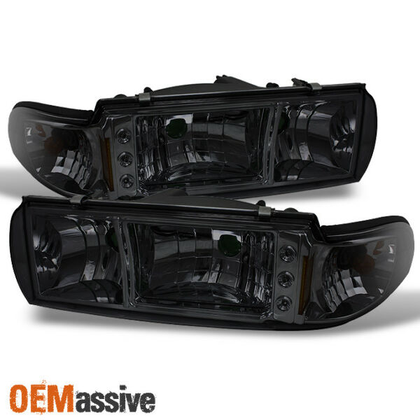 Fit 91-96 Impala Caprice Replacement Smoke 1PC LED HeadlightsCorner Lamps LH+RH