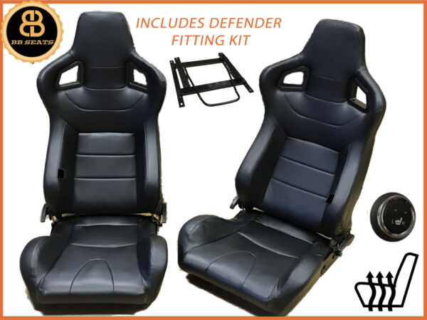 Pair Direct Fit BB6 HEATED Reclining Bucket Seats Black Fits LANDROVER DEFENDER