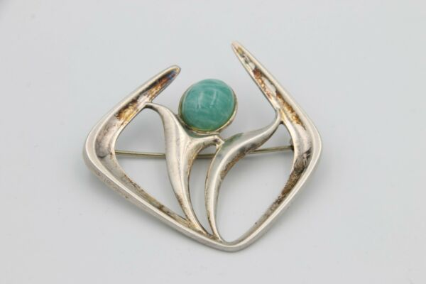 David Andersen Norway 925S Silver Amazonite Brooch Pin 1960's (Harry Sorby)