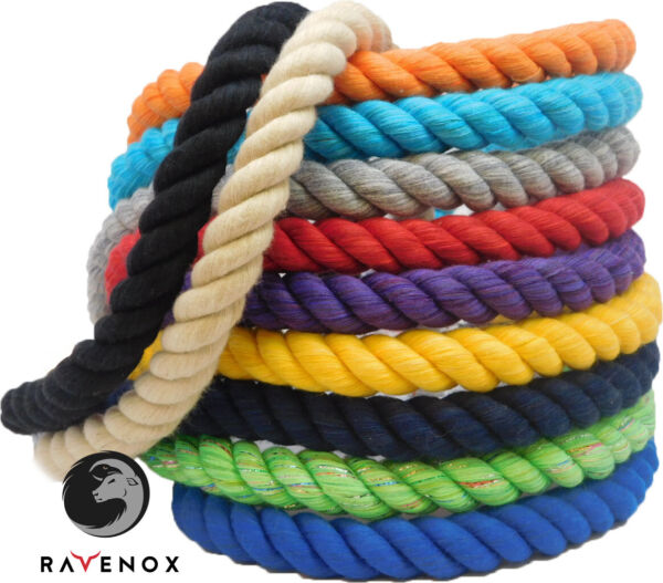 Ravenox Natural Twisted Cotton Rope  12 Inch  Multiple Colors  Made in USA
