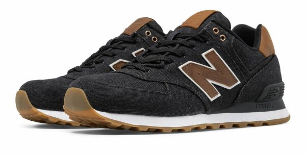 New Balance Men's 574 15 Ounce Canvas Shoes Black with Brown