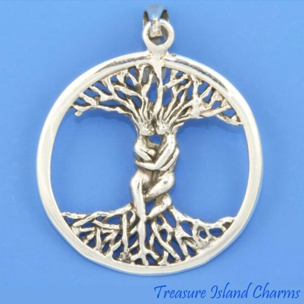 Tree of Life Round with Man and Woman Couple 925 Solid Sterling Silver Pendant $20.50
