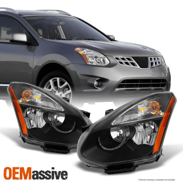 Fits 08-14 Rogue SUV Halogen Type Black Headlights Replacement Left + Right Pair